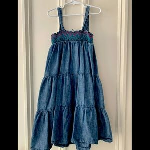Old Navy chambray embroidered stitch tank dress L